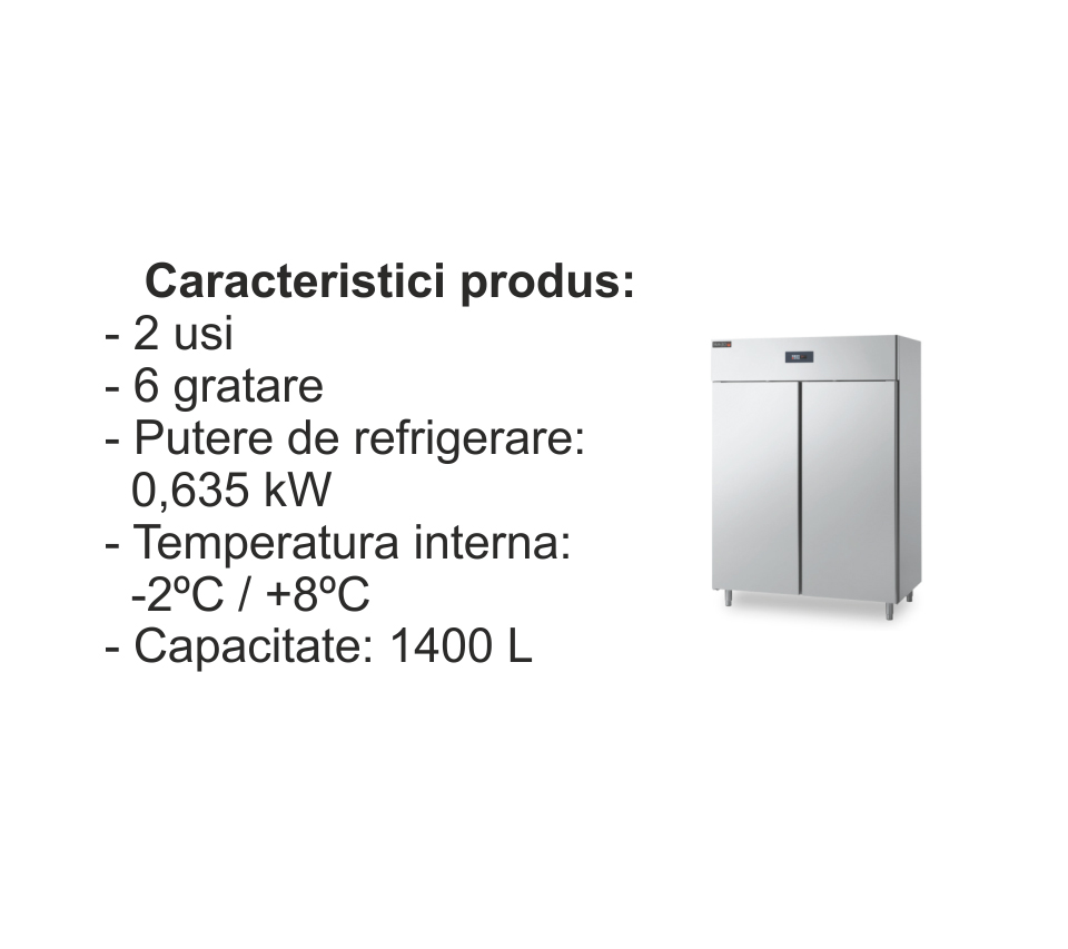 Dulap frigorific dotat cu doua usi si 6 gratare
